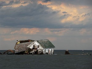 The last house on Holland Island, Maryland, where 360 people lived before tides took over. Photograph by Astrid Riecken for the Washington Post/Getty Images retrieved from National Geographic Daily News.
