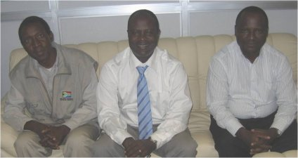 Left: Mr. Martin M. Munkhondya; middle: Mr. P.F. Tibaijuka, Director General for the Tanzania Meteorological Agency; right: Mr. F. Tilya